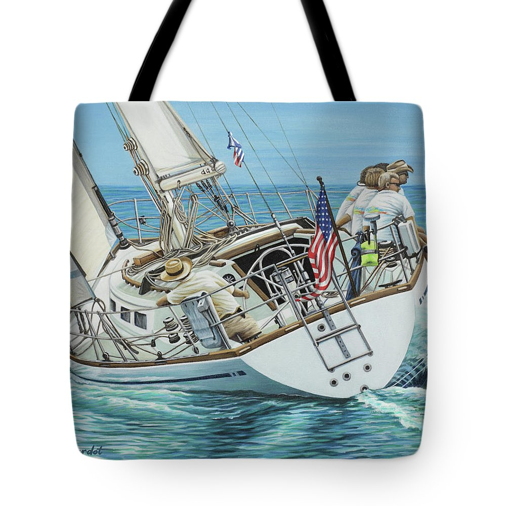Ocean Tote Bag featuring the painting Sailing Away by Jane Girardot