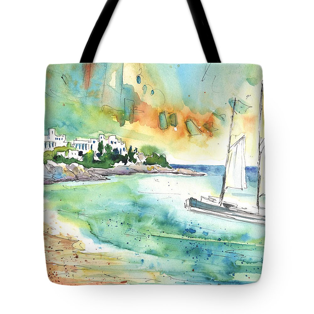 Caribbean Islands Tote Bag featuring the painting Sailing In Saint Martin by Miki De Goodaboom