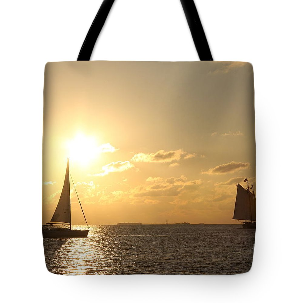 Sail Tote Bag featuring the photograph Sailing Into The Sunset by Christiane Schulze Art And Photography