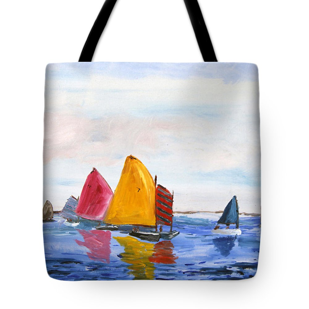 Nantucket Sound Tote Bag featuring the painting Sailing Nantucket Sound by Michael Helfen