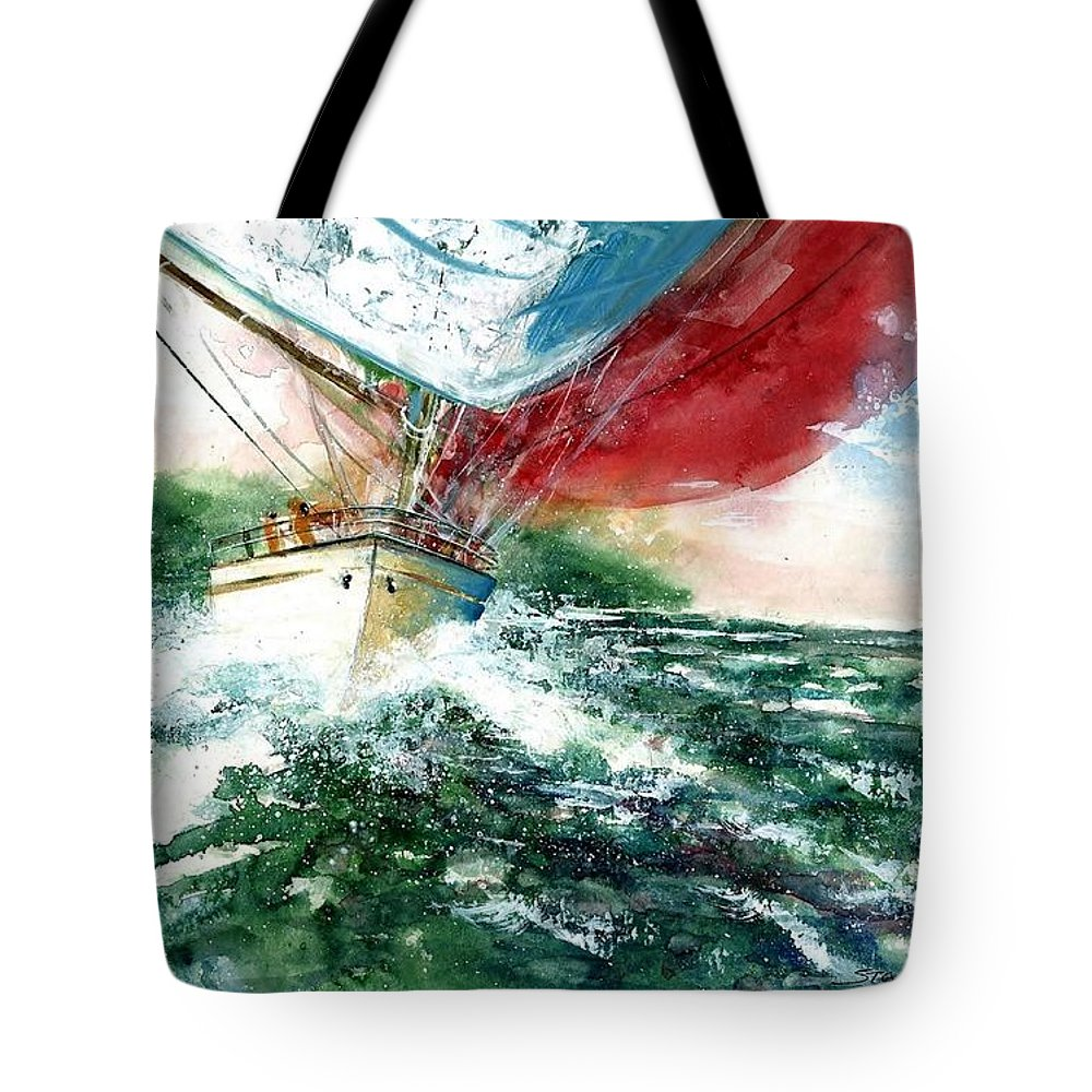 Sailing On The Breeze Tote Bag featuring the painting Sailing On The Breeze by Steven Schultz