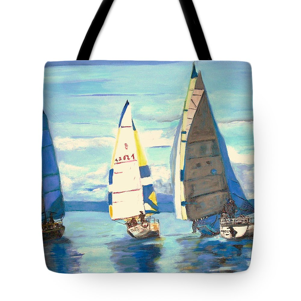 Seascape Tote Bag featuring the painting Sailing Regatta At Port Hardy by Teresa Dominici
