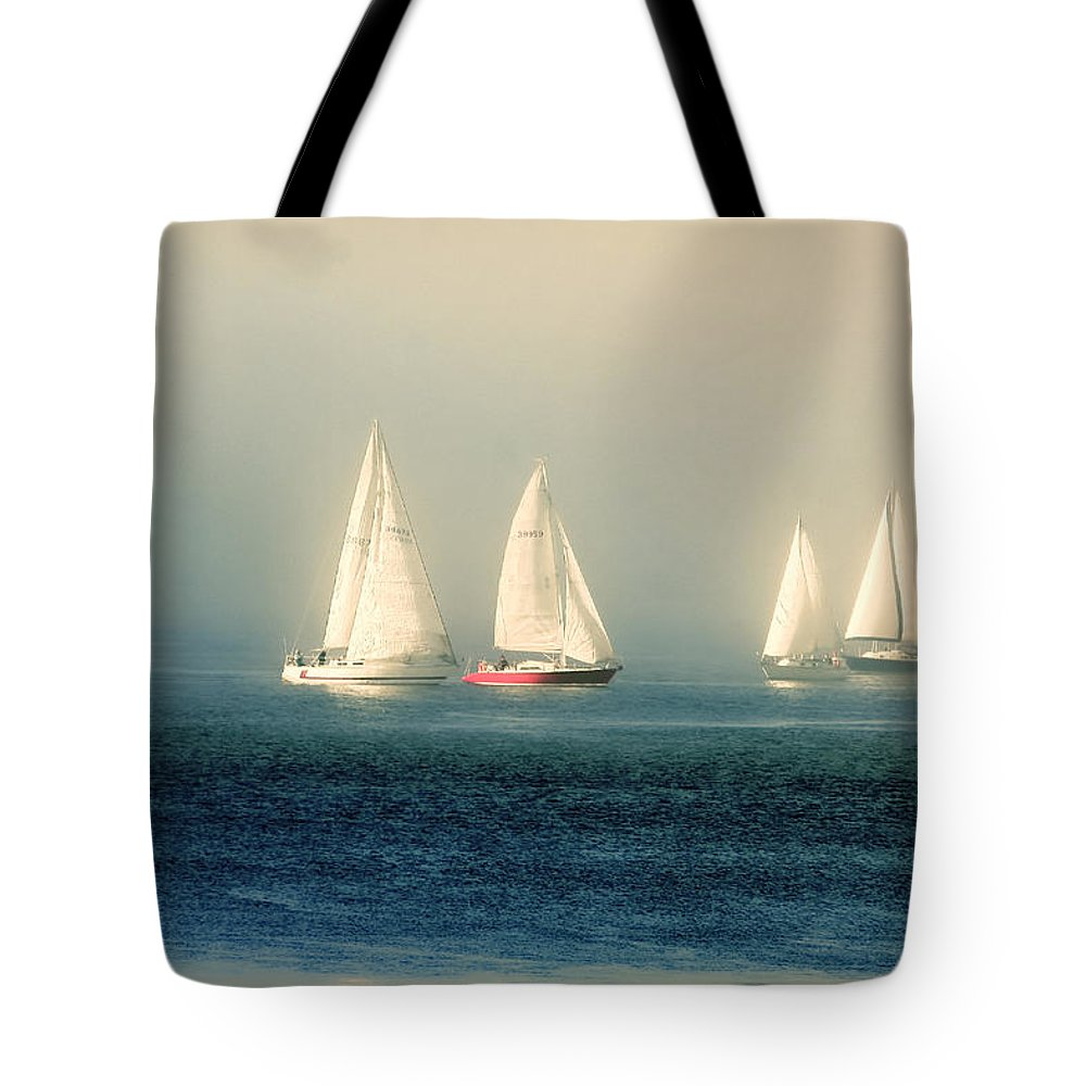 Sailboats Tote Bag featuring the photograph Sailing The Deep Blue Sea by Peggy Collins
