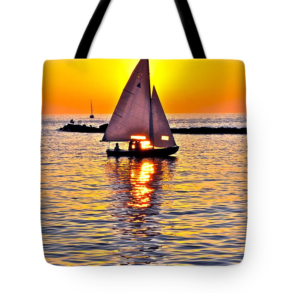Sail Tote Bag featuring the photograph Sailing The Seven Seas by Frozen in Time Fine Art Photography