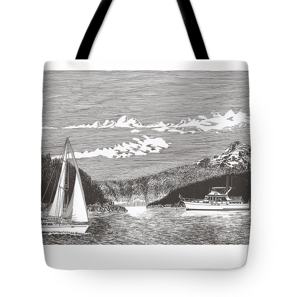 Yacht Portraits Tote Bag featuring the drawing Sailing Mount Hood Oregon by Jack Pumphrey