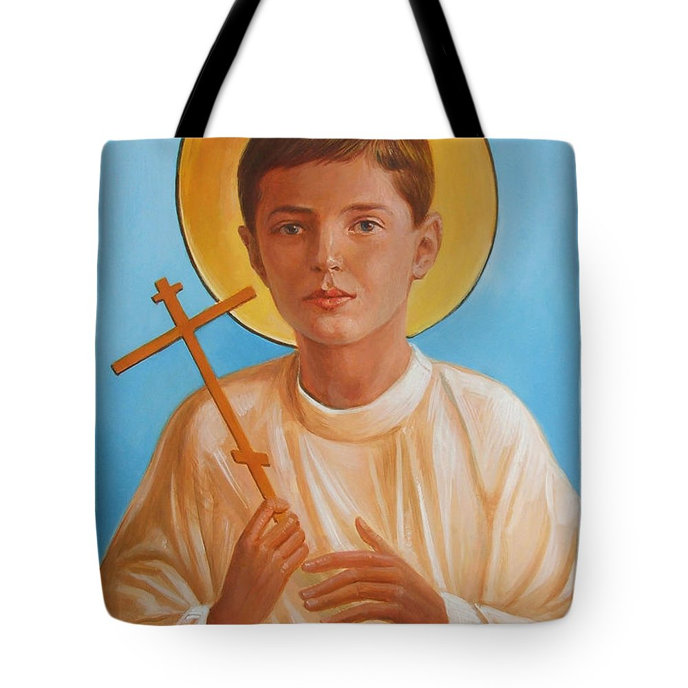 Tsarevich Alexei Tote Bag featuring the painting Saint Alexei Oil Icon On Wood. Tsarevich Passion-bearer by George Alexander