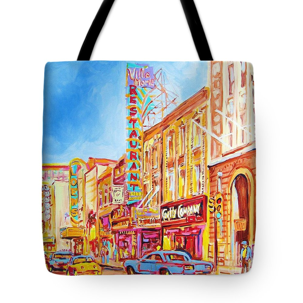 Paintings Of Montreal Tote Bag featuring the painting Saint Catherine Street Montreal by Carole Spandau