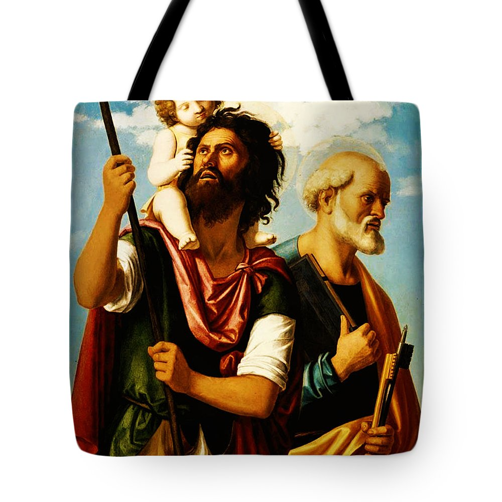 Saint Christopher With Saint Peter Tote Bag featuring the painting Saint Christopher With Saint Peter by Bill Cannon