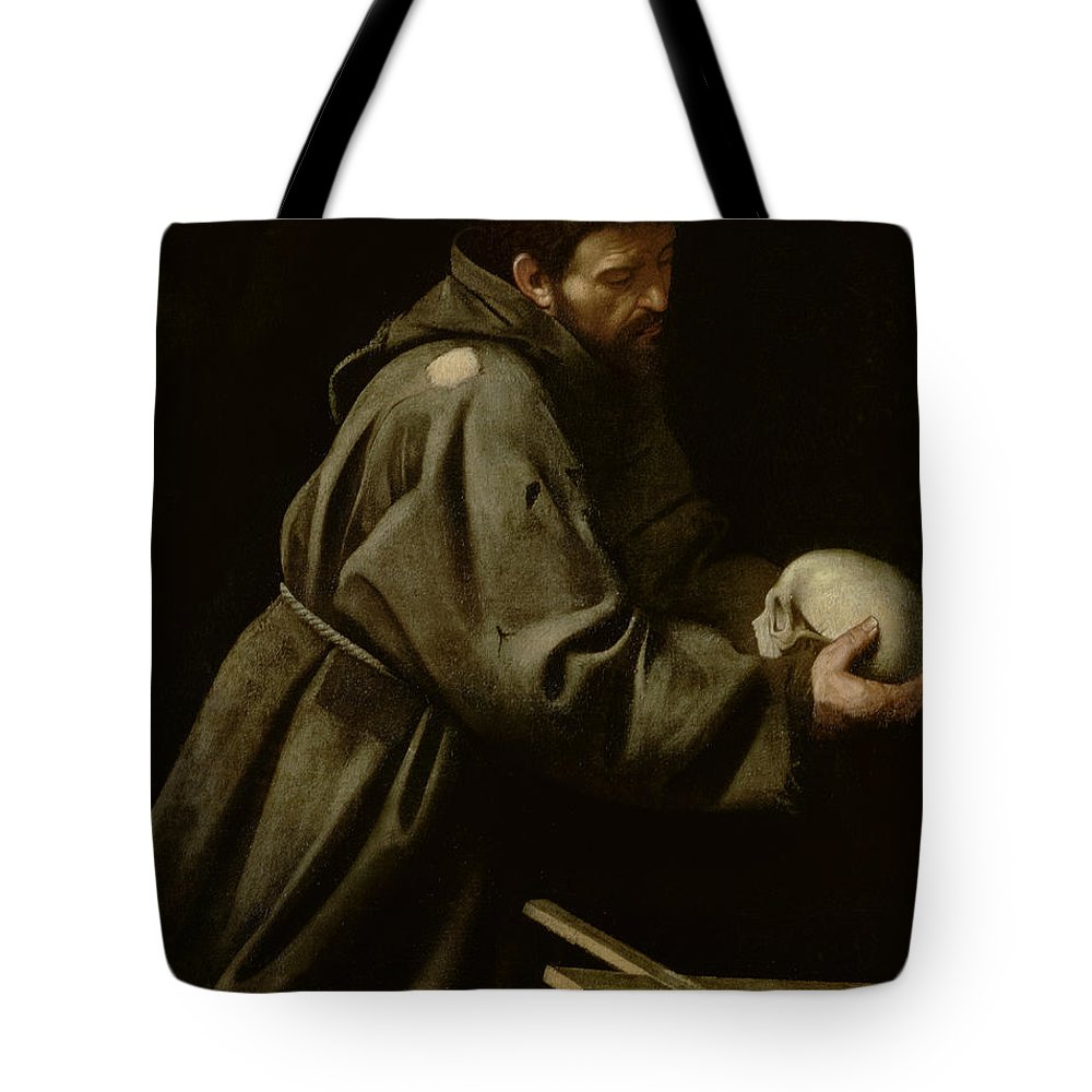 Monk Tote Bag featuring the painting Saint Francis In Meditation by Michelangelo Merisi da Caravaggio