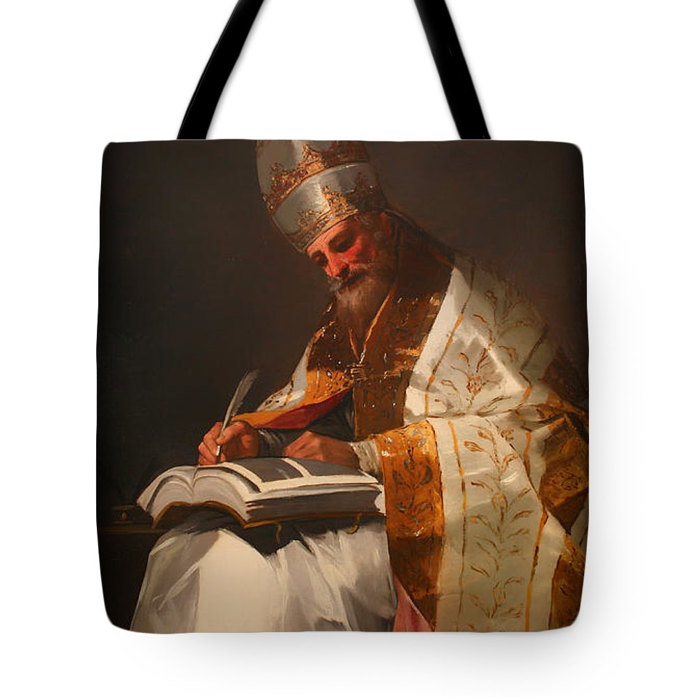 Painting Tote Bag featuring the painting Saint Gregory The Pope by Mountain Dreams