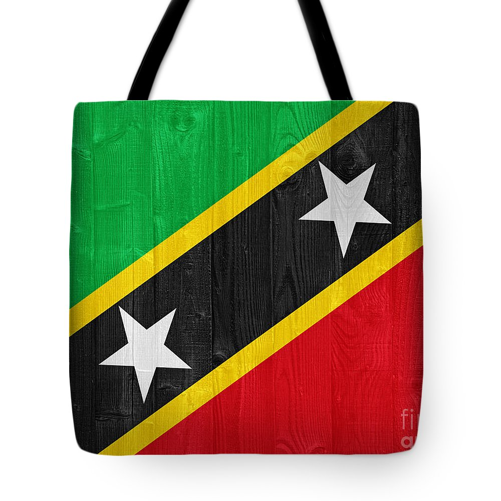 Saint Tote Bag featuring the photograph Saint Kitts And Nevis Flag by Luis Alvarenga