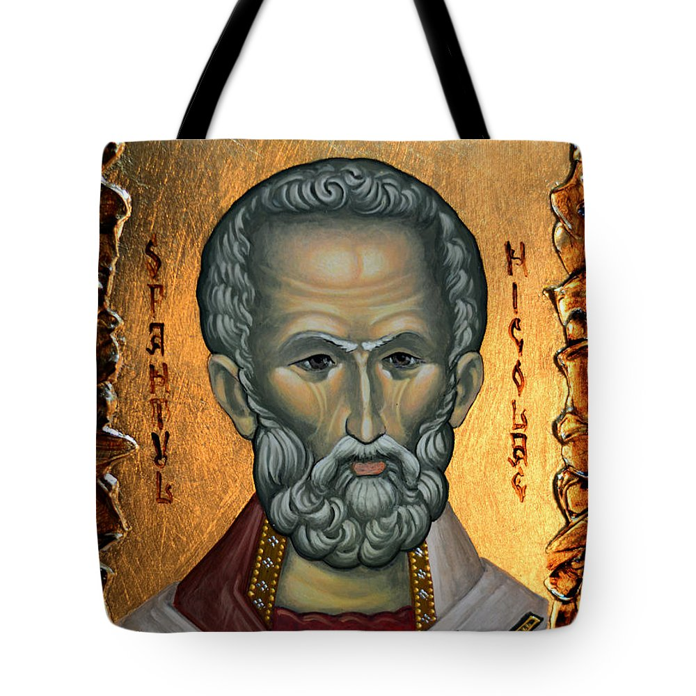 Saint Tote Bag featuring the painting Saint Nicholas by Claud Religious Art