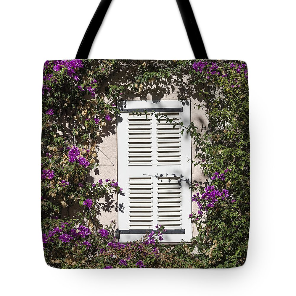 Bougainvillea Tote Bag featuring the photograph Saint Tropez Window by John Greim