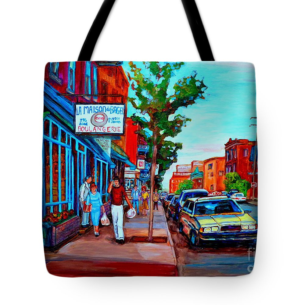 St.viateur Bagel Shop Tote Bag featuring the painting Saint Viateur Bagel Shop by Carole Spandau