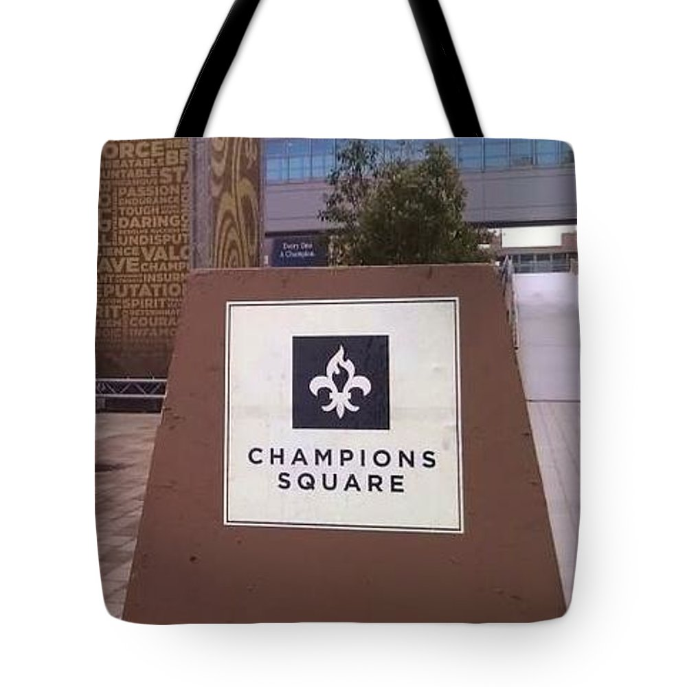 New Orleans Saints Tote Bag featuring the photograph Saints - Champions Square - New Orleans La by Deborah Lacoste