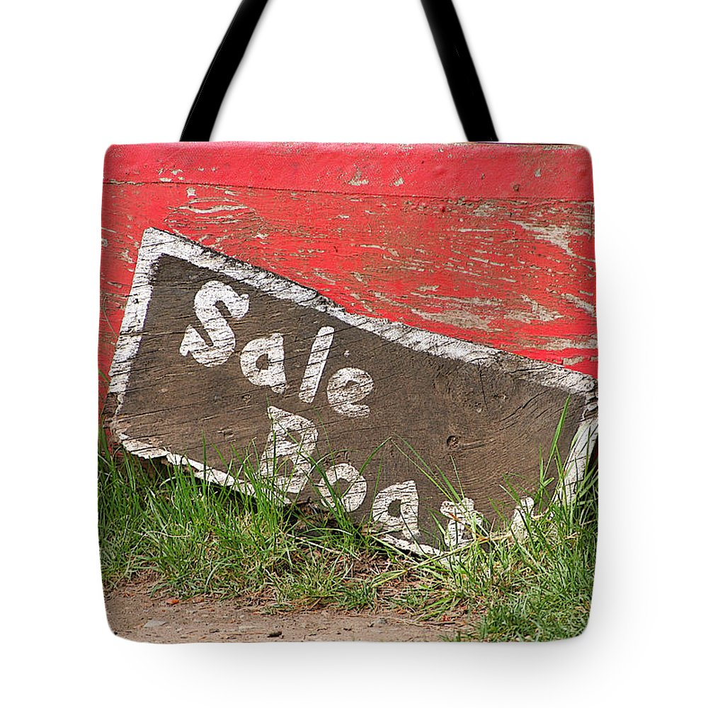 Boat Tote Bag featuring the photograph Sale Boat by Art Block Collections