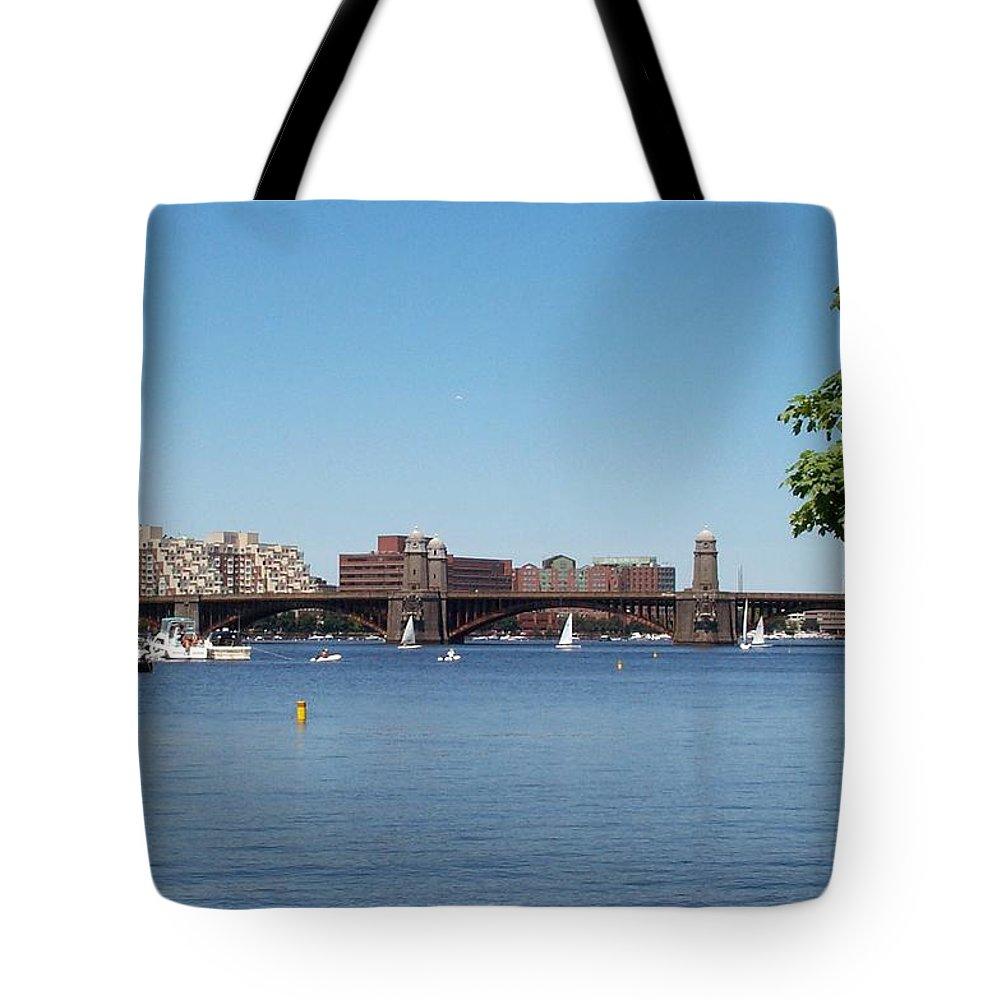 longfellow Bridge Tote Bag featuring the photograph Salt And Pepper Bridge by Barbara McDevitt