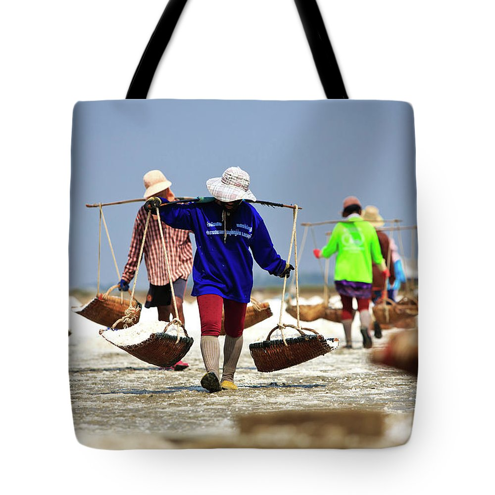 Child Tote Bag featuring the photograph Salt Farm In Thailand by Monthon Wa