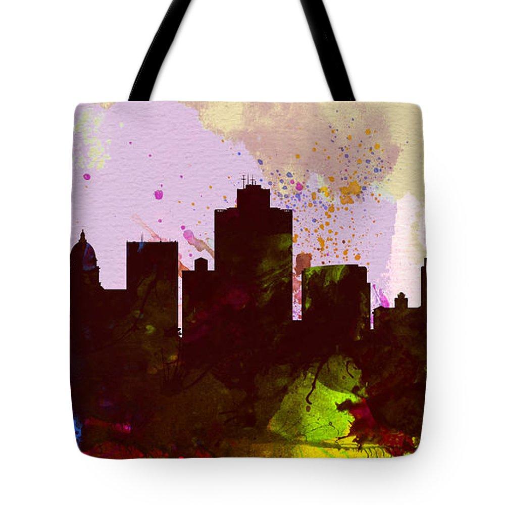 Salt Lake Tote Bag featuring the painting Salt Lake City Skyline by Naxart Studio
