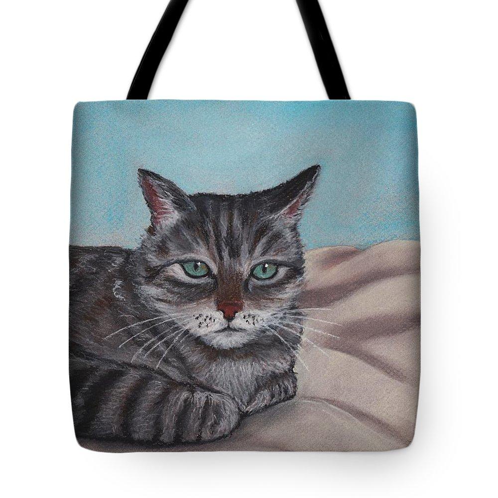 Cat Tote Bag featuring the painting Sam by Anastasiya Malakhova