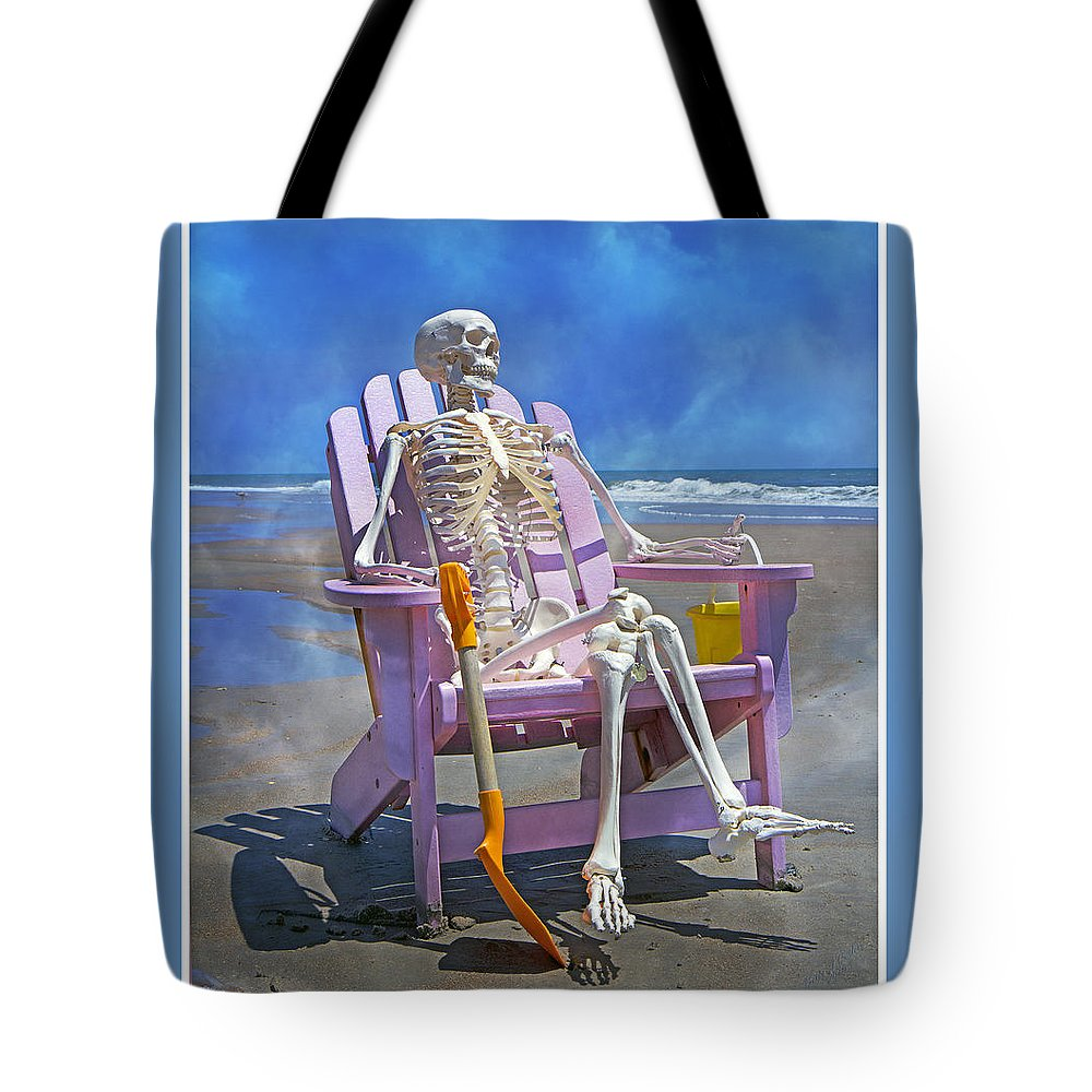 Skeleton Tote Bag featuring the photograph Sam Enjoys The Beach -- Again by Betsy Knapp