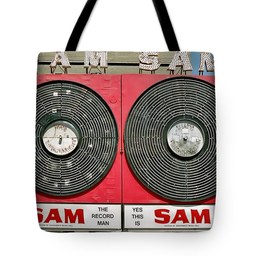 Toronto Tote Bag featuring the photograph Sam The Record Man by Andrew Fare