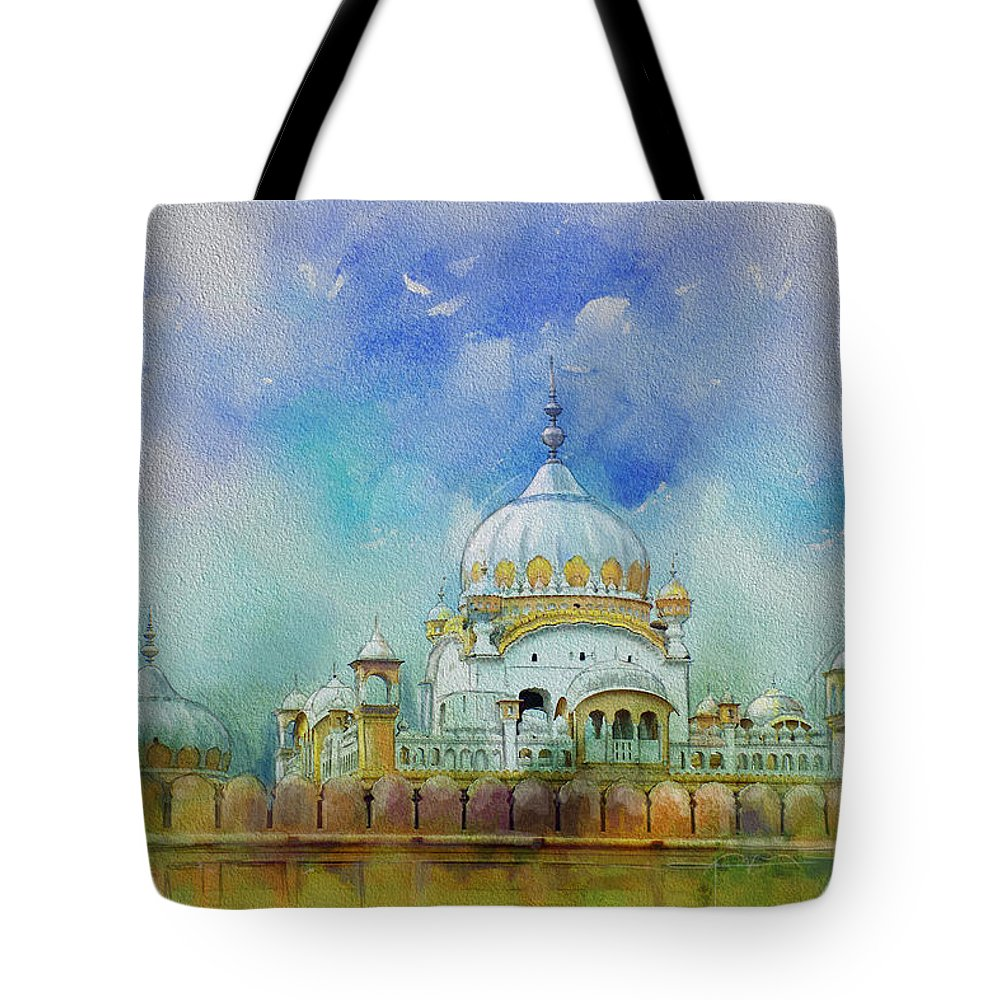Pakistan Tote Bag featuring the painting Samadhi Ranjeet Singh by Catf
