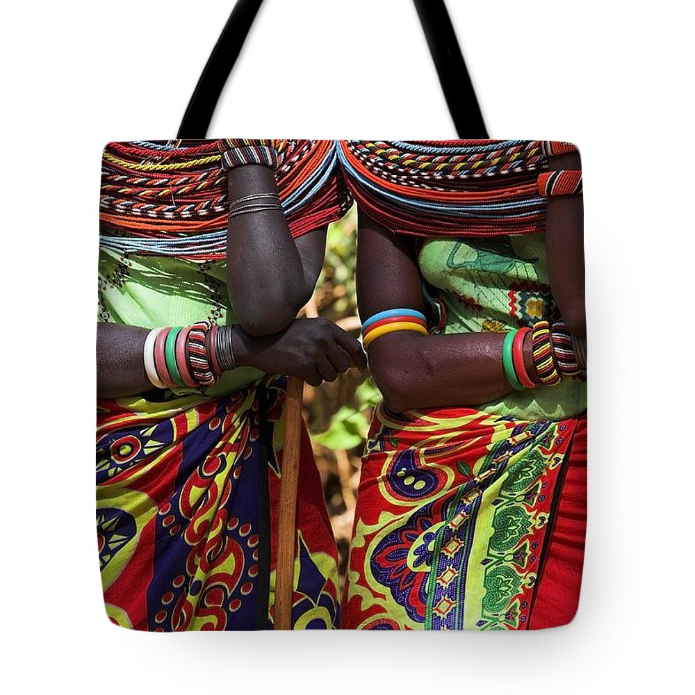 African Tote Bag featuring the photograph Samburu Women Dancing Kenya by Chris Upton