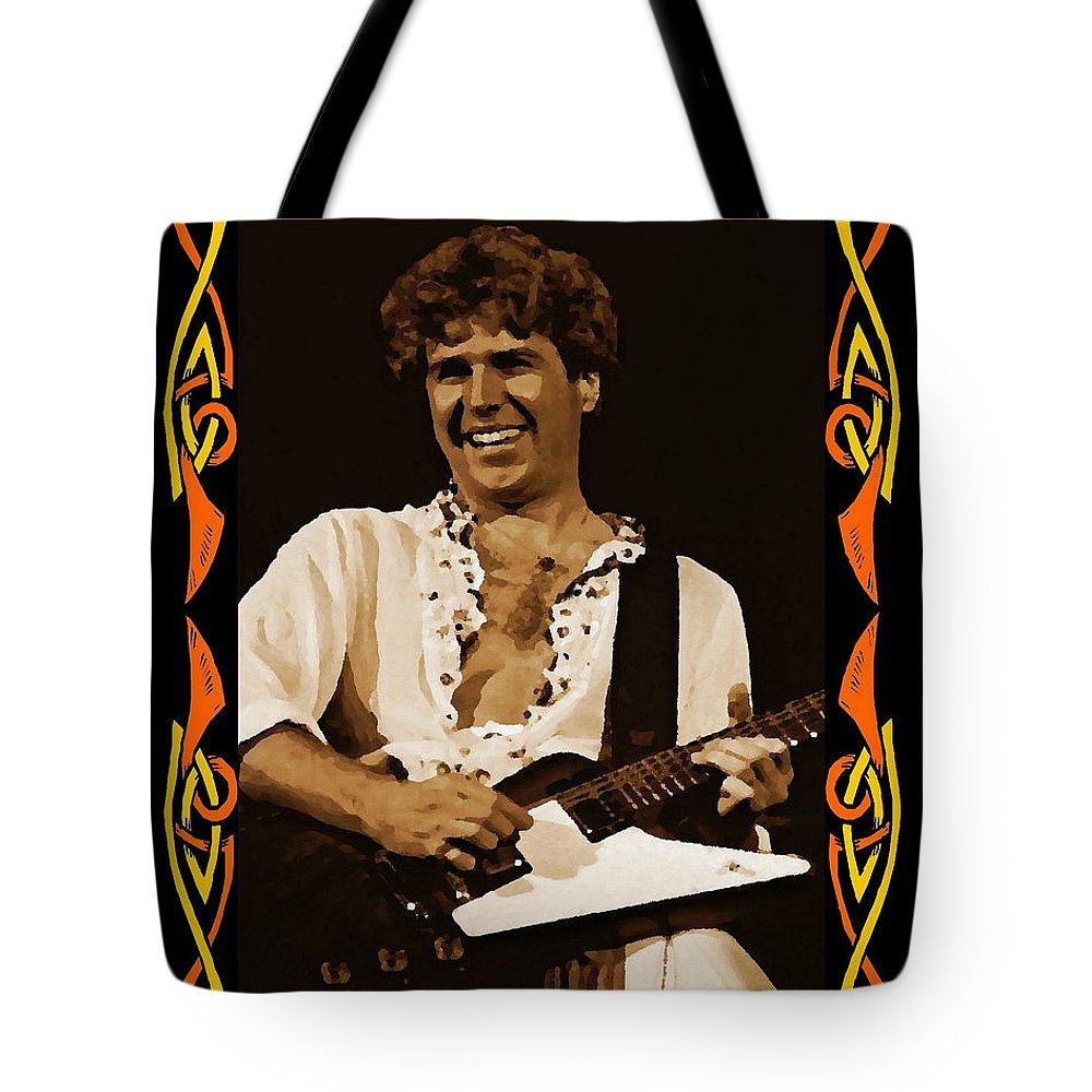 Sammy Hagar Tote Bag featuring the photograph S H In Oakland 1977 by Ben Upham