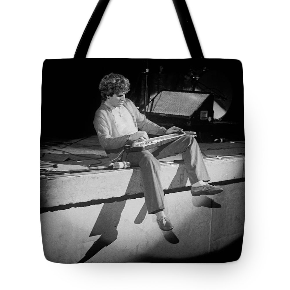 Sammy Hagar Tote Bag featuring the photograph S H Playing Bad Motor Scooter In Spokane 1977 by Ben Upham