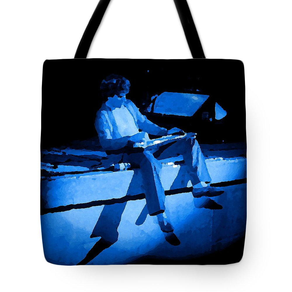 Sammy Hagar Tote Bag featuring the photograph S H Playing Bad Motor Scooter In Spokane 1977 Blue by Ben Upham
