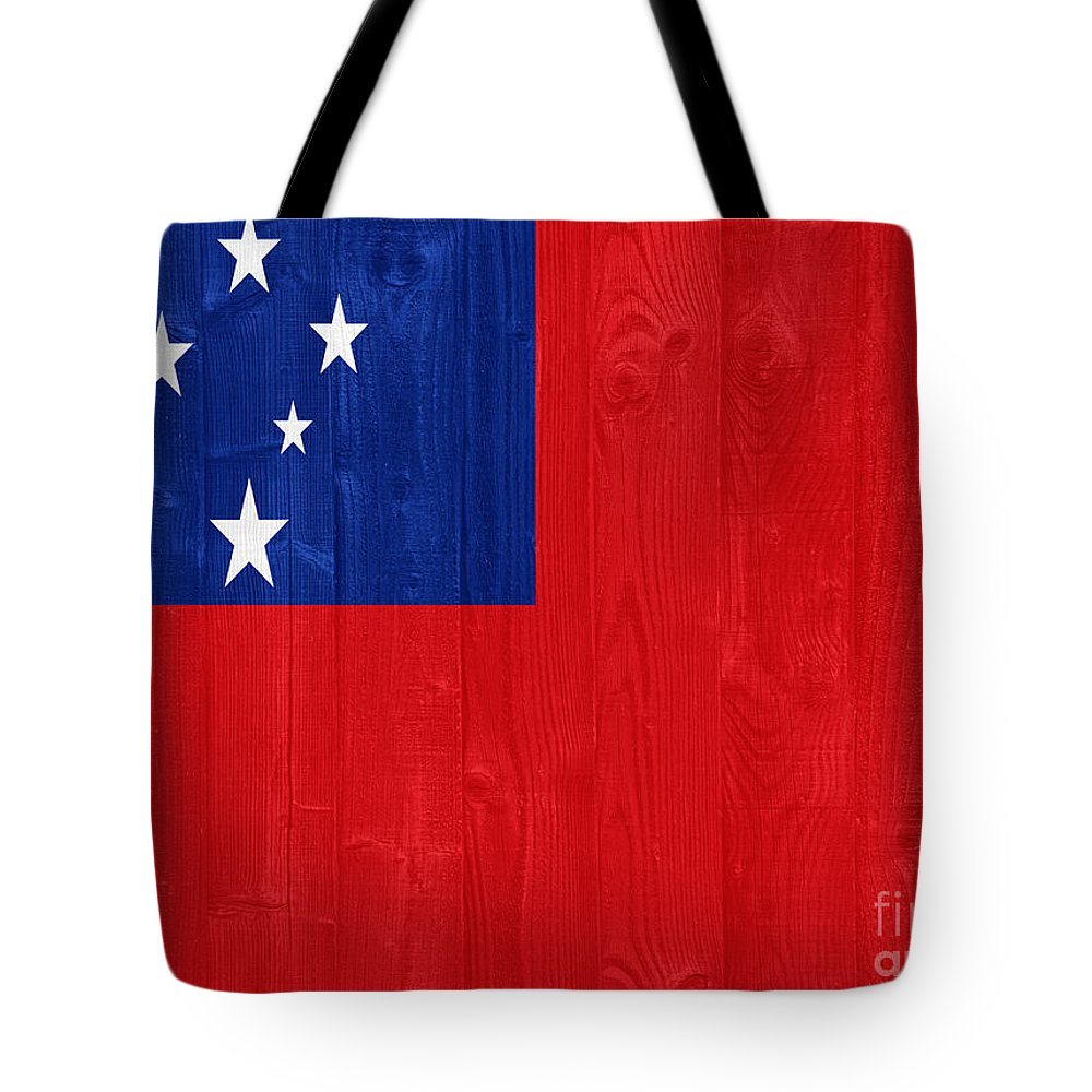 Samoa Tote Bag featuring the photograph Samoa Flag by Luis Alvarenga