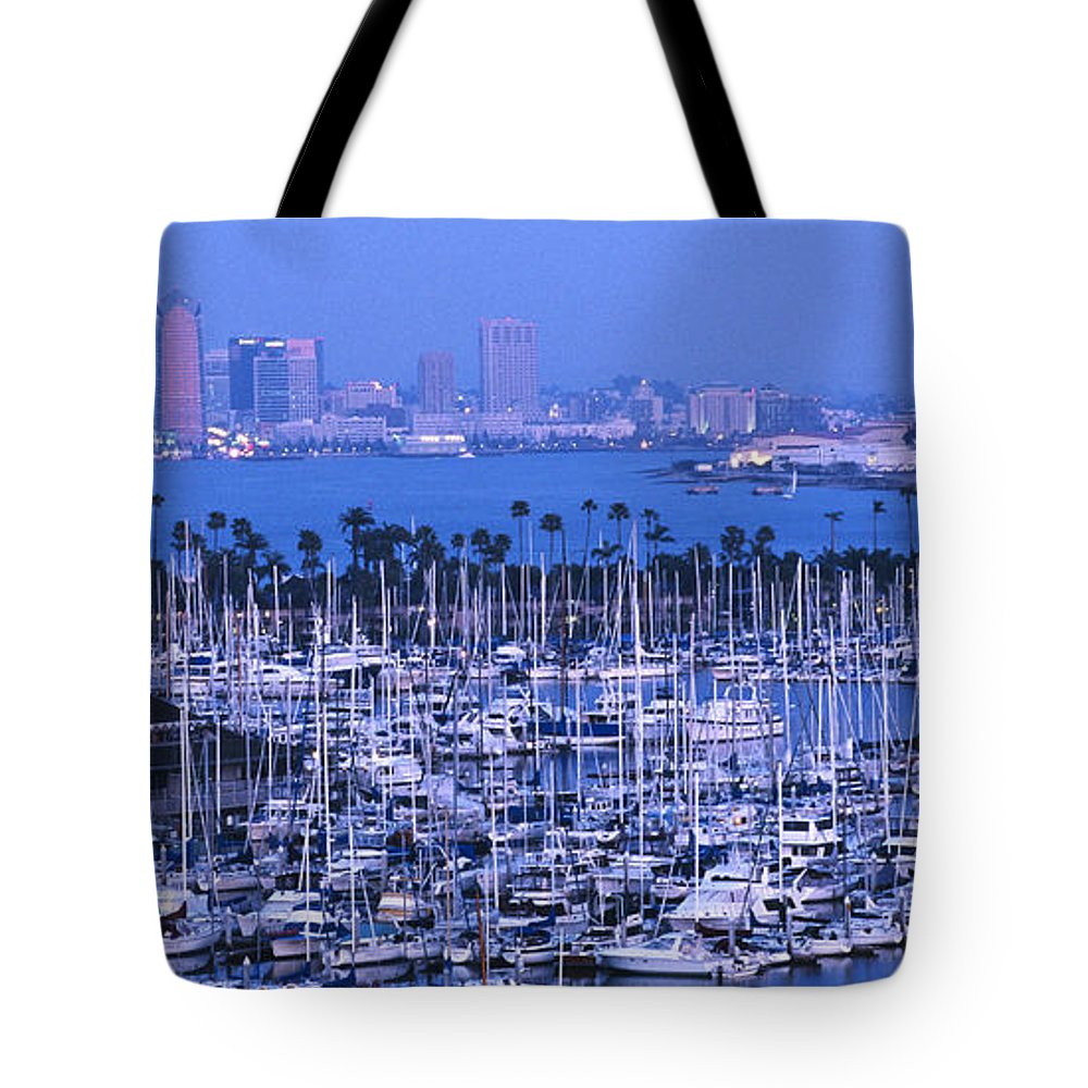 Panoramic Tote Bag featuring the photograph San Diego Twilight by Sandra Bronstein