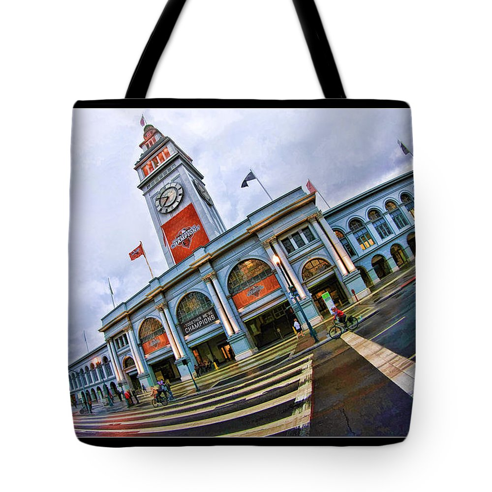 San Francisco Ferry Building Tote Bag featuring the photograph San Francisco Ferry Building Giants Decorations. by Blake Richards