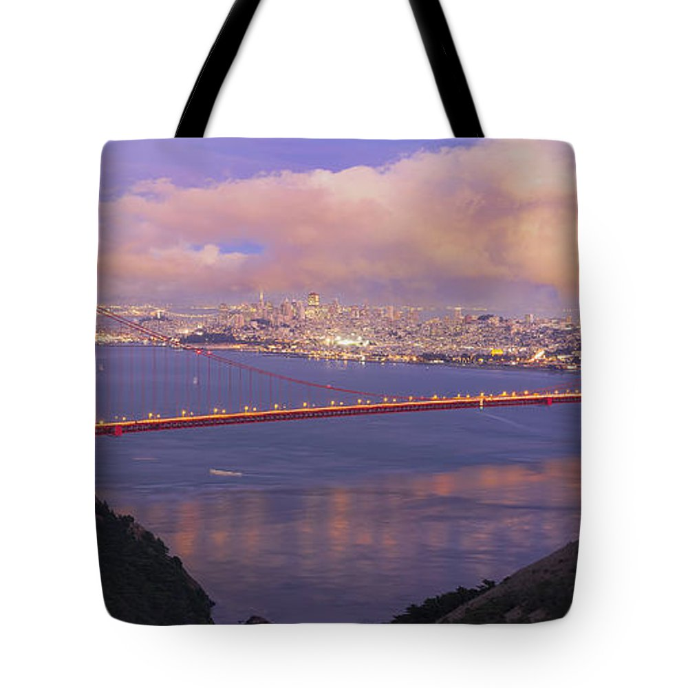 Golden Tote Bag featuring the photograph San Francisco Golden Gate Bridge At Dusk by Jit Lim