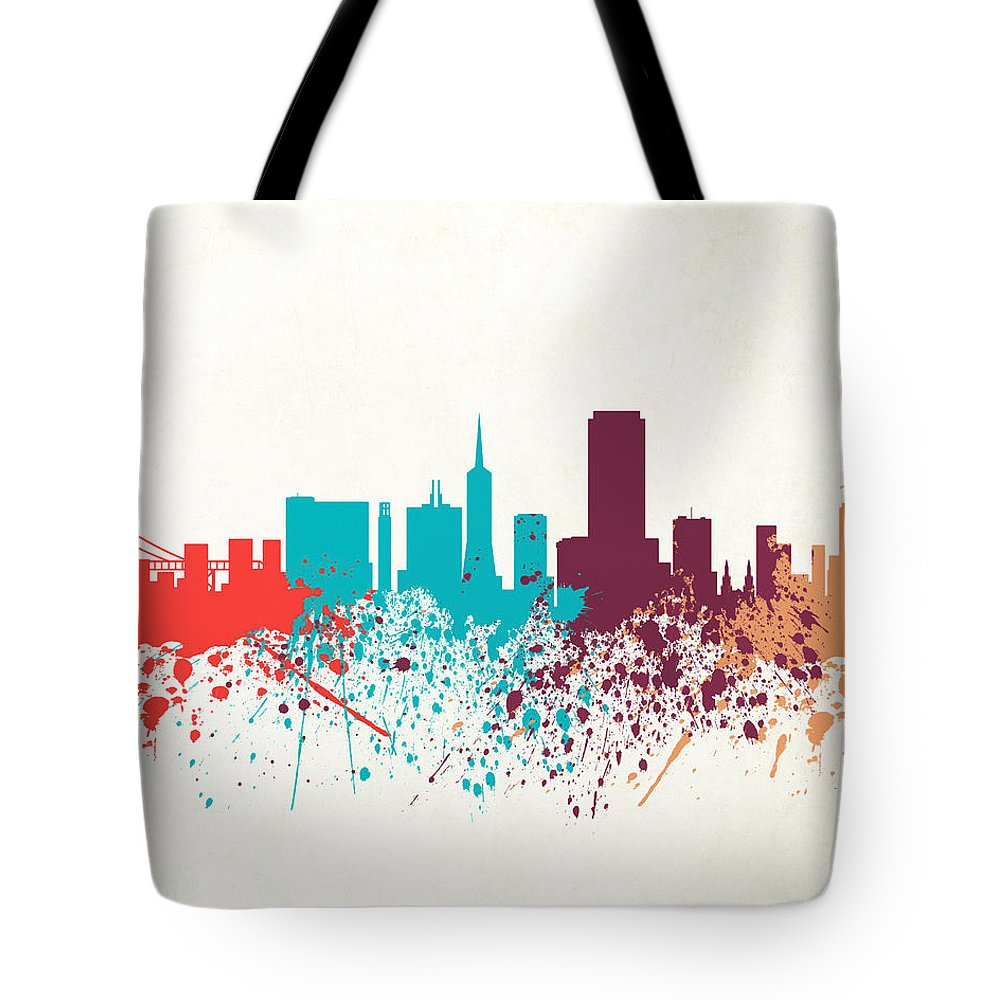 Amaerican Tote Bag featuring the digital art San Francisco Skyline Paint by World Art Prints And Designs