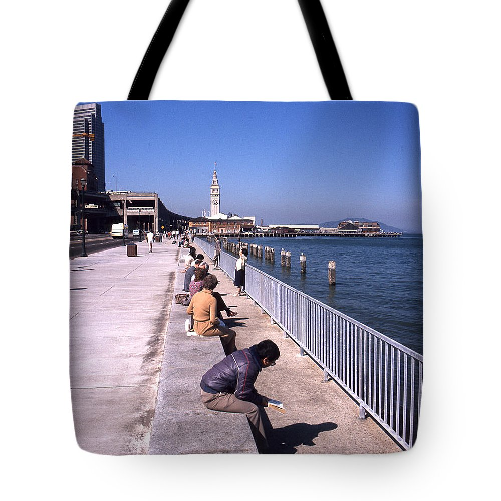 San Francisco Waterfront Tote Bag featuring the photograph San Francisco Waterfront 1975 by Lee Santa