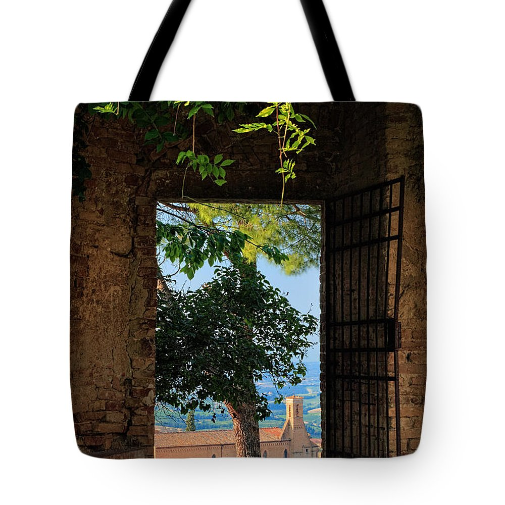 Europe Tote Bag featuring the photograph San Gimignano Door by Inge Johnsson