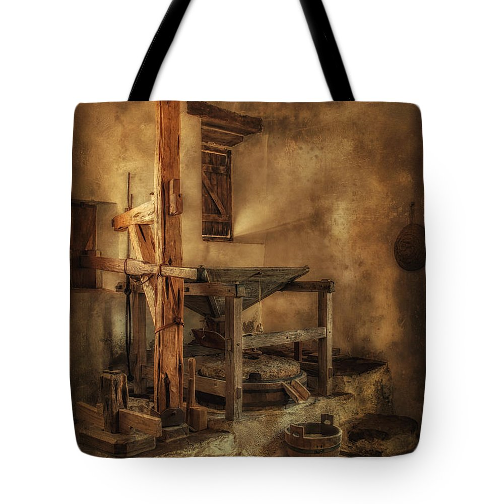 Mill Tote Bag featuring the photograph San Jose Mission Mill by Priscilla Burgers