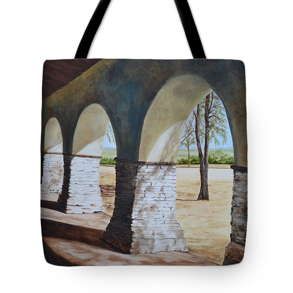 California Landmark Tote Bag featuring the painting San Juan Bautista Mission by Mary Rogers
