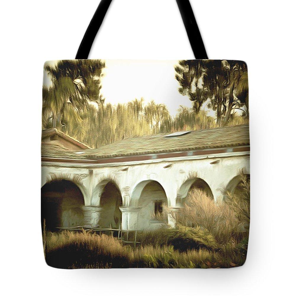 San Juan Capistrano California Tote Bag featuring the painting San Juan Capistrano California by Barbara Snyder