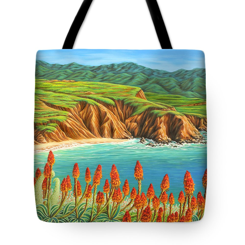 Ocean Tote Bag featuring the painting San Mateo Springtime by Jane Girardot