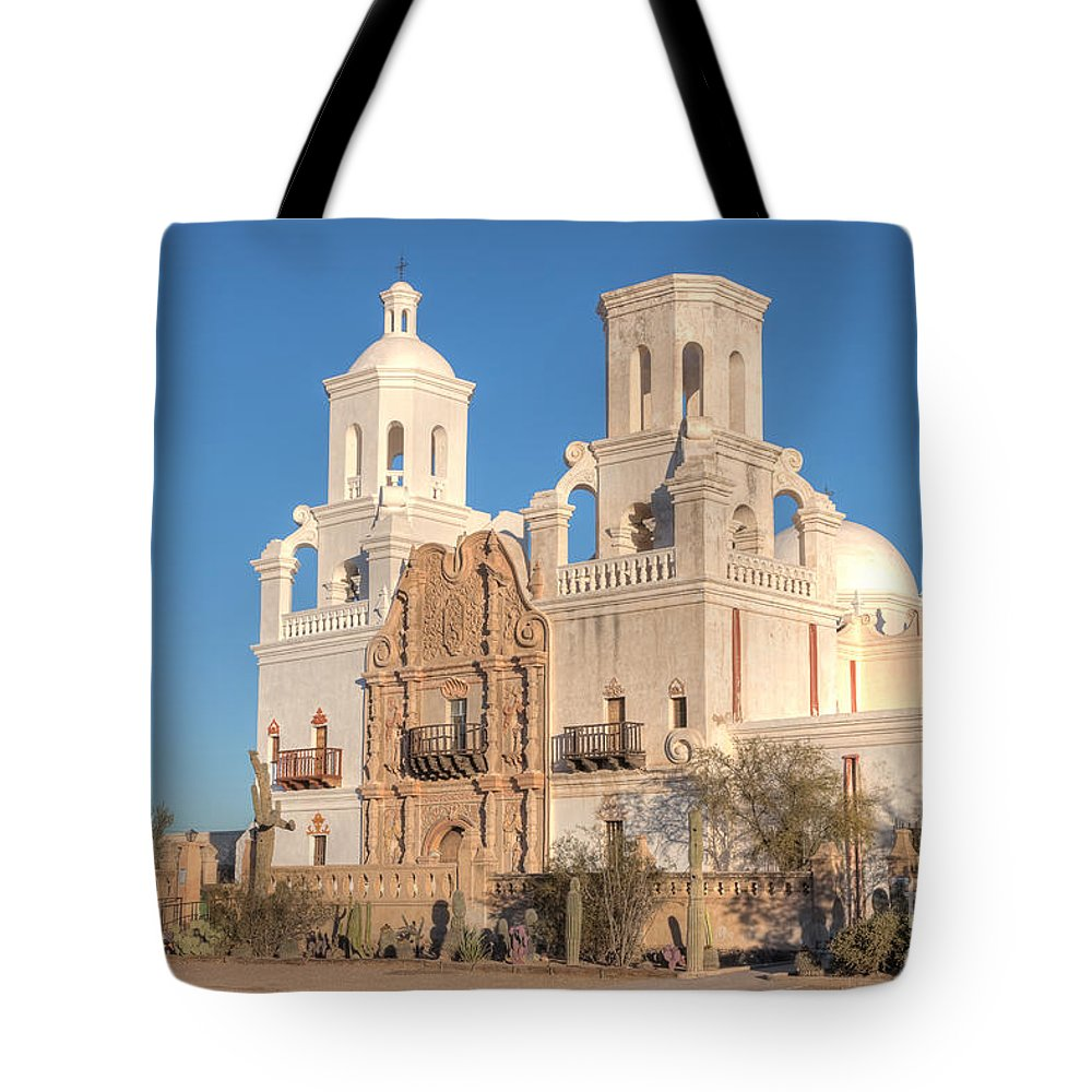 Clarence Holmes Tote Bag featuring the photograph San Xavier Del Bac Mission II by Clarence Holmes