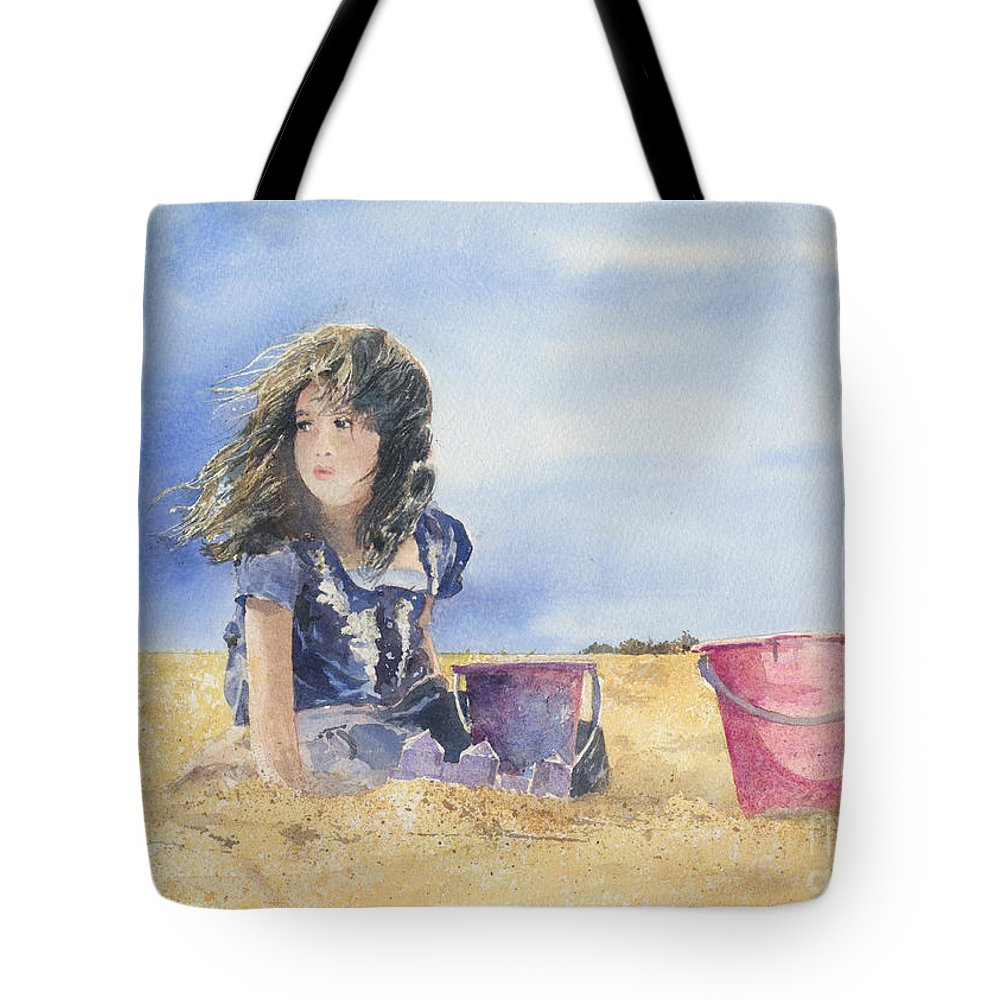 A Young Girl Builds Sand Castles On The Beach. Tote Bag featuring the painting Sand Castle Dreams by Monte Toon