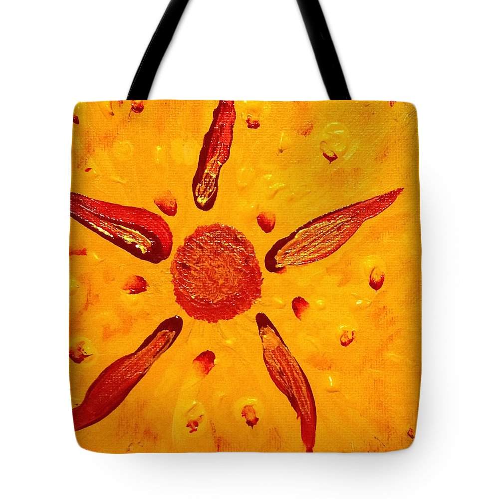 Sand Dollar Tote Bag featuring the painting Sand Dollar Sun by Dawn Richerson