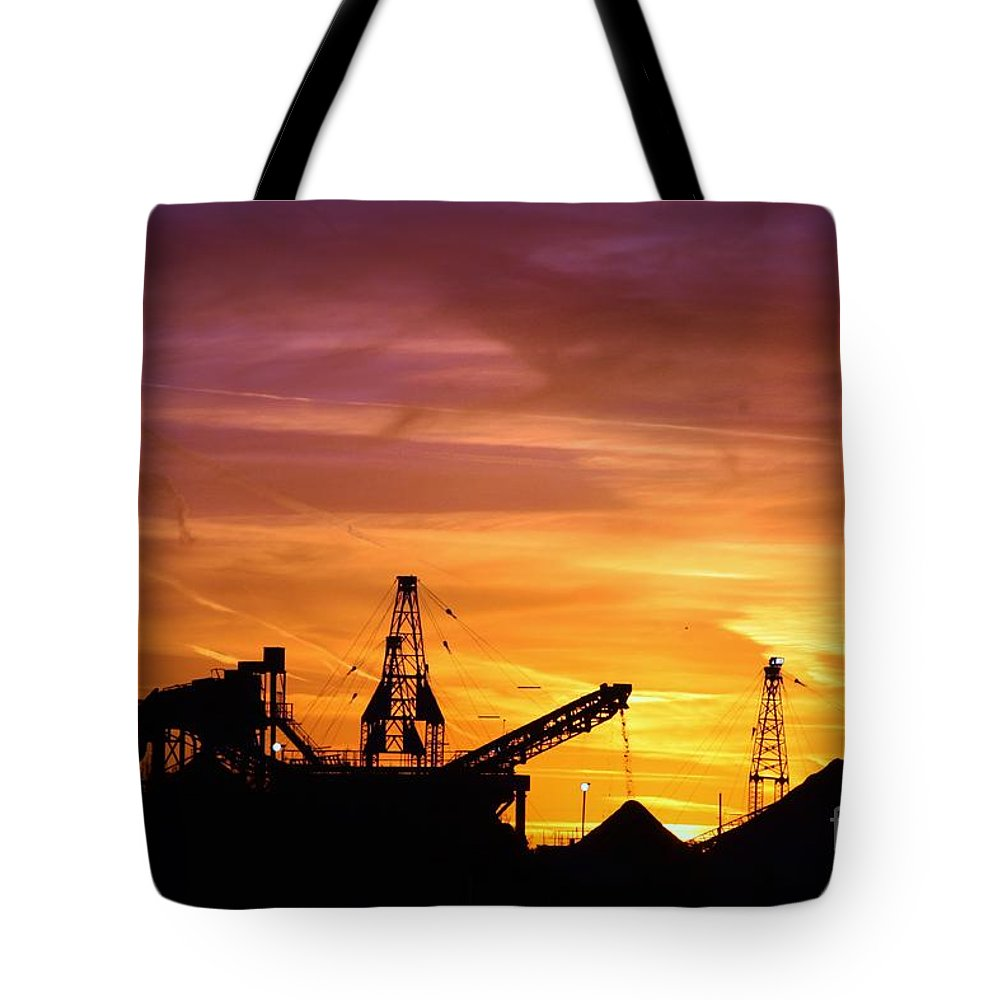 Sandpit Tote Bag featuring the photograph Sand Pit Silhouette Sunset With Red And Yellow Sky by Robert D Brozek