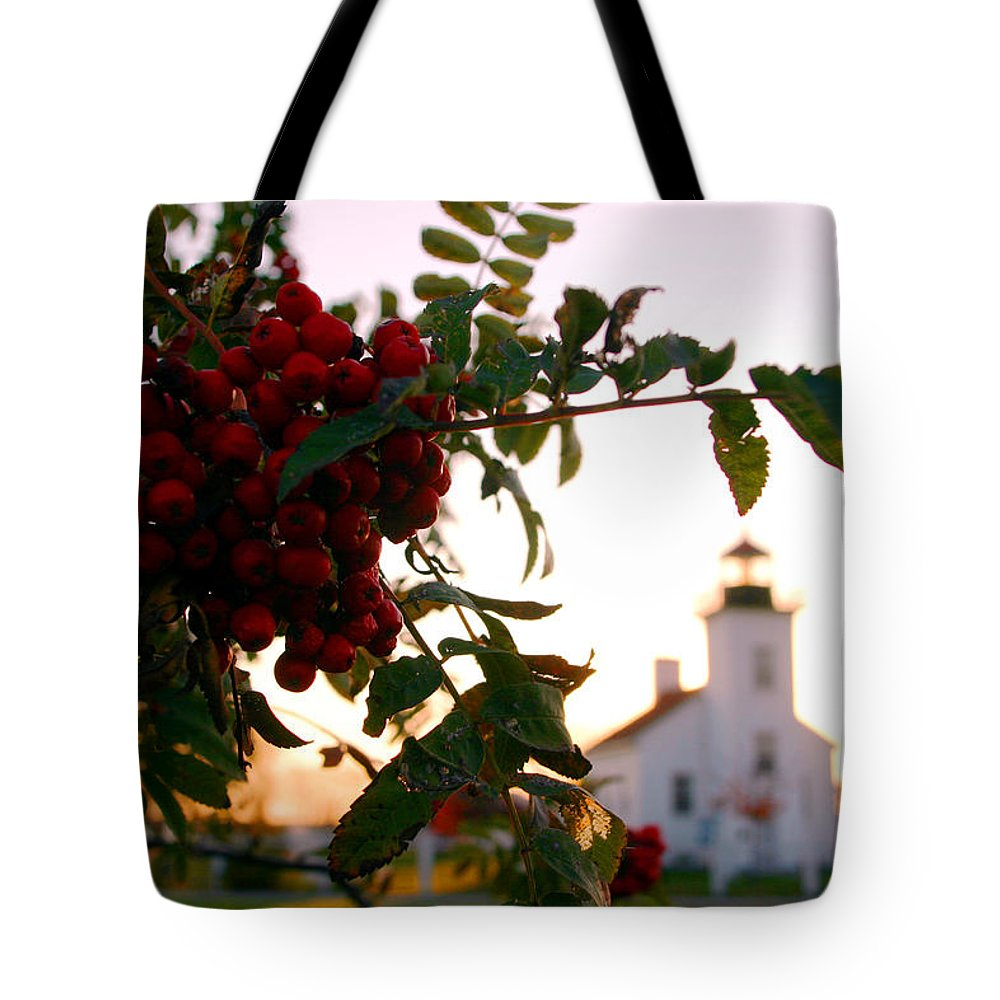 Michigan Tote Bag featuring the photograph Sand Point Lighthouse Escanaba Michigan by John McGraw