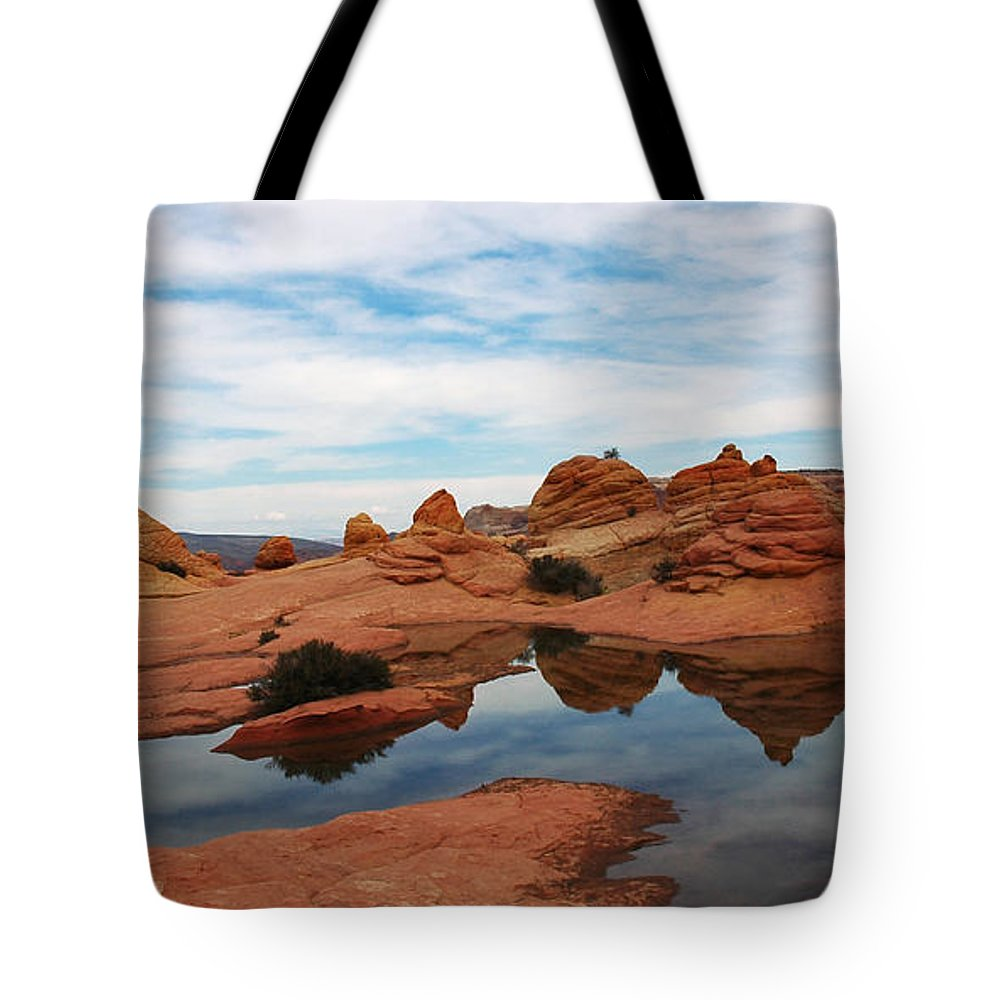 Above The Wave Tote Bag featuring the photograph Sandstone Reflections 2 by Vivian Christopher