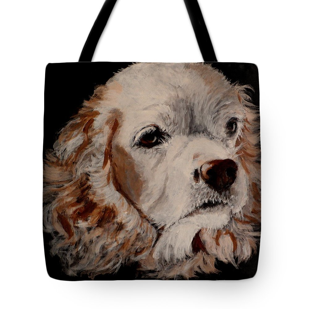 Blonde Cocker Spaniel Close Up Tote Bag featuring the painting Sandy by Carol Russell