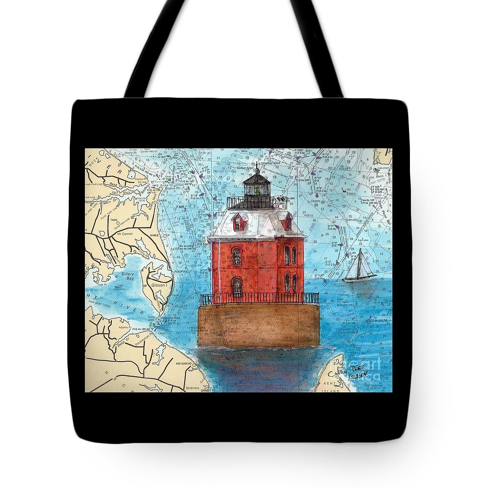 Sandy Tote Bag featuring the painting Sandy Pt Shoals Lighthouse Md Nautical Chart Map Art Cathy Peek by Cathy Peek